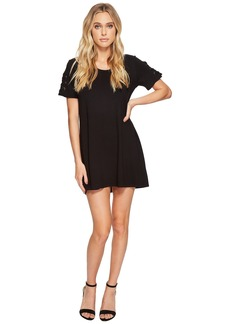 Michael Stars Elevated French Terry Lace-Up Sleeve Dress