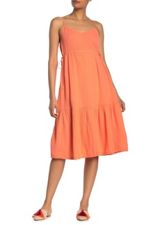 Michael Stars Giovanni Tie Waist Puckered Midi Dress