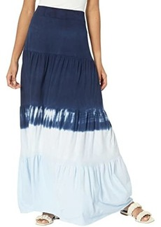 Michael Stars Heavenly Tiered Dip-Dye Cotton Modal Maxi Skirt