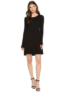 Michael Stars Jasper Poor Boy Rib Crew Neck Long Sleeve Dress