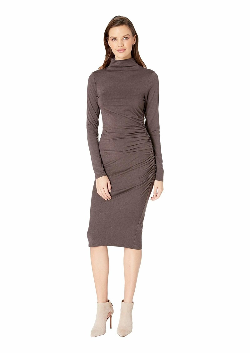 Michael Stars Jules Jersey Long Sleeve Mock Neck Midi Dress