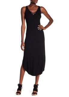 Michael Stars Lace-Up Ribbed Knit Midi Dress