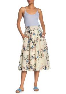 Michael Stars Leah Smocked Floral Midi Skirt