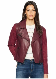 Michael Stars Leather Suede Mix Classic Moto Jacket