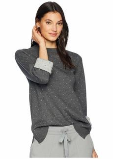 Michael Stars Luxe Cotton Blend Reversible Polka Dot Bell Sleeve Mock Neck Pullover