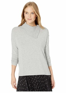 Michael Stars Madison Brushed Jersey Lacy Boxy Top Turtleneck