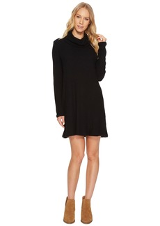 Michael Stars Madison Brushed Ribbed Long Sleeve Cowl Neck Dress