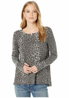 Michael Stars Madison Snow Leopard Kim Long Sleeve Notch Neck Top with Thumbholes