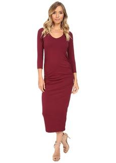 Michael Stars 3/4 Sleeve Ruched Midi Dress