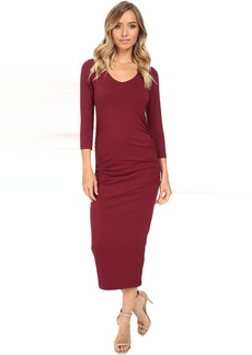 Michael Stars 3/4 Sleeve Ruched Midi Dress