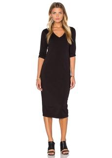 Michael Stars 3/4 Sleeve V Neck Midi Dress