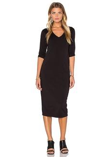 Michael Stars 3/4 Sleeve V Neck Midi Dress in Black. - size S (also in XS)