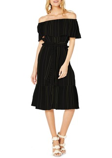 Michael Stars Beach Stripe Off The Shoulder Midi Dress