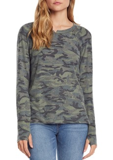 Michael Stars Brushed Camo Notch Neck Top