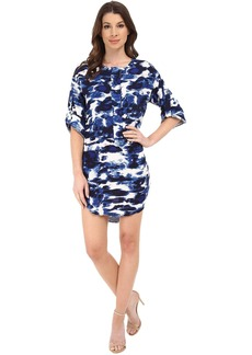 Michael Stars Cloud Print Roll Up Elbow Sleeve Dress