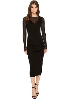 Michael Stars Collection Dress Long Sleeve Ruched Midi Dress
