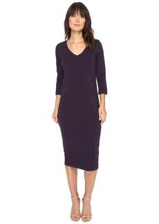 Michael Stars Cotton Lycra 3/4 Sleeve V-Neck Midi Dress