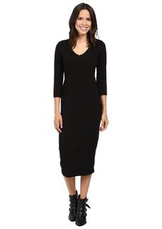 Michael Stars Cotton Lycra 3/4 Sleeve Vee Neck Midi Dress