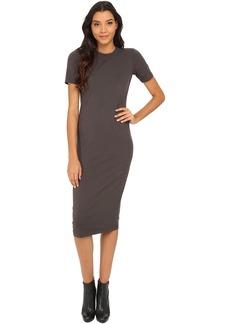 Michael Stars Cotton Lycra Short Sleeve Crew Neck Midi Dress
