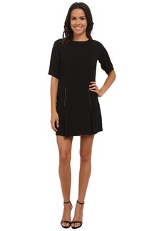 Michael Stars Crepe Elbow Sleeve Drop Waist Dress w/ Zips