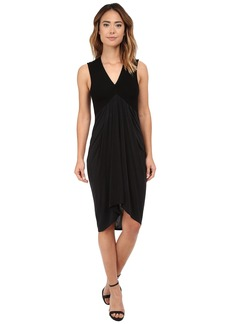 Michael Stars Cupro Sleeveless Vee Neck Draped Dress