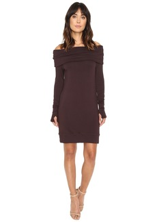 Michael Stars Elevated Terry Off Shoulder Tunic/Dress w/ Thumbholes