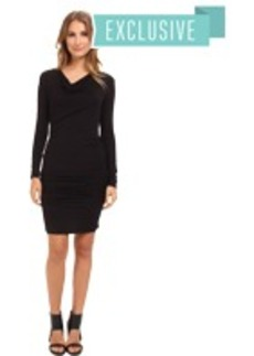 Michael Stars Exclusive L/S Drape Neck Dress w/ Shirring