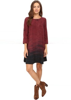 Michael Stars Haze Print 3/4 Sleeve Crew Neck Swing Dress