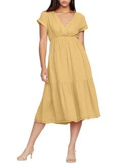 Michael Stars Illana Surplice Cotton Midi Dress