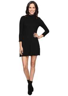 Michael Stars Jasper Poor Boy Rib 3/4 Sleeve Mock Neck Dress