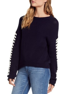 Michael Stars Lace-Up Sleeve Sweater