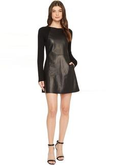 Michael Stars Leather Mix Long Sleeve A-Line Mini Dress