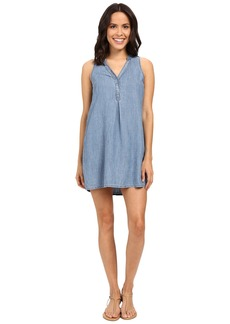 Michael Stars Linen Denim Tencel Henley Dress