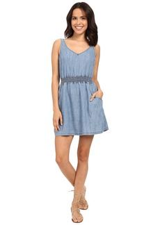 Michael Stars Linen Denim Tencel Open Back Dress