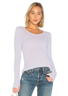 Michael Stars Long Sleeve Scoop Neck Tee With Thumb Holes