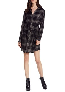 Michael Stars Metallic Plaid Tie Waist Shirtdress
