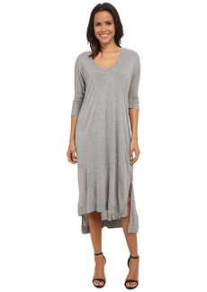 Michael Stars Micro Modal Elbow Sleeve Double Vee Midi Dress