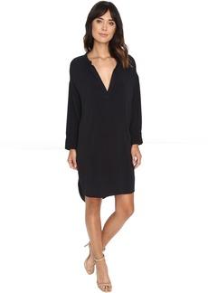 Michael Stars Modern Rayon 3/4 Sleeve Split-Neck Dress
