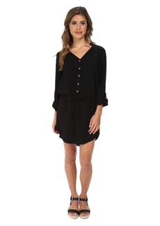 Michael Stars Modern Rayon Three-Quarter Sleeve Shirt Dress