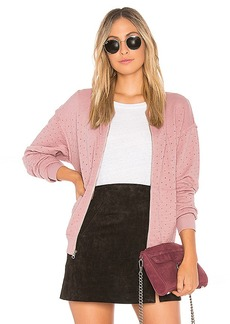 Michael Stars Perforated Terry Bomber Jacket in Rose. - size XS (also in S,M,L)