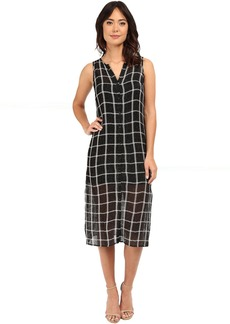 Michael Stars Plaid Mesh Button Down Midi Dress