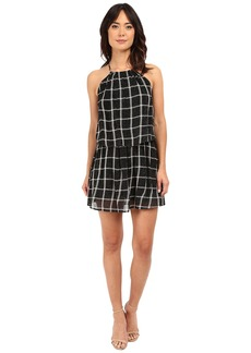 Michael Stars Plaid Mesh Layered Halter Dress