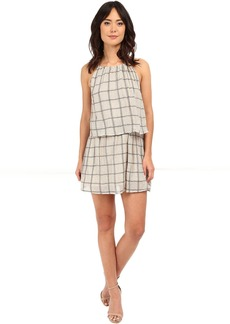 Plaid Mesh Layered Halter Dress