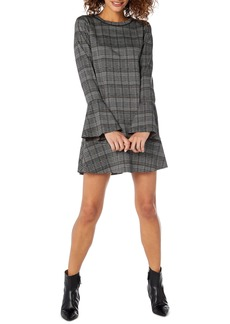 Michael Stars Plaid Ponte Flounce Dress