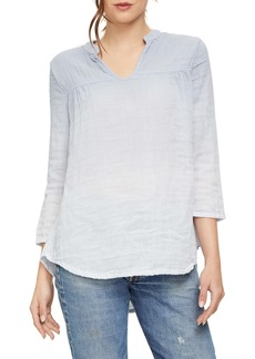Michael Stars Raelynn Notch Neck Cotton Blouse