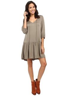Michael Stars Romy Rayon 3/4 Sleeve Drop Waist Dress