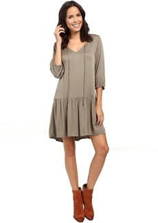 Michael Stars Romy Rayon 3/4 Sleeve Drop Waist Dress