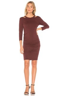 Michael Stars Round Neck Bodycon Dress in Red. - size L (also in M,S,XS)