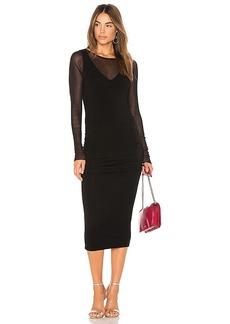 Michael Stars Ruched Midi Dress in Black. - size L (also in M,S,XS)