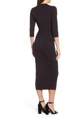 Michael Stars Ruched Surplice Stretch Cotton Body-Con Dress (Regular & Petite)